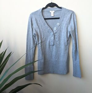 Sundance Gray Button Down Popover Sweater size M